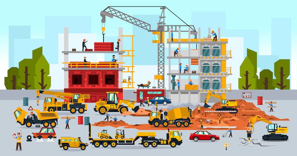 Billede af byggepladsen fra interaktiv børnebog