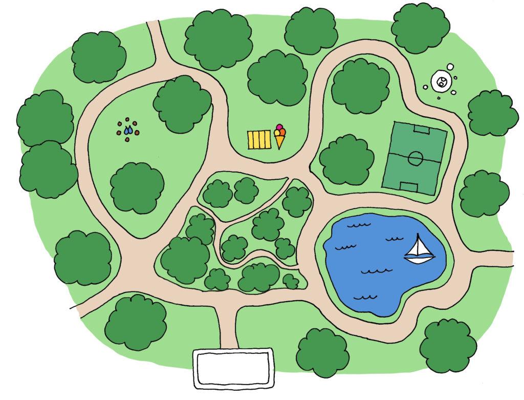Kort over parken i børnebogen Bjørn og Ræv i Parken.